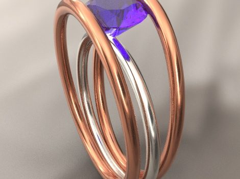 Rendering di nostro modello CAD: anello in oro bianco ed oro rosa con ametista.